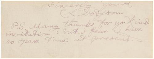 24B: CARROLL Lewis Autograph ALICE IN WONDERLAND