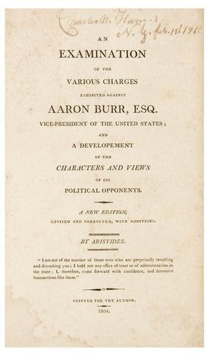 527A: (BURR, AARON) - [VAN NESS, William].  An Examinat