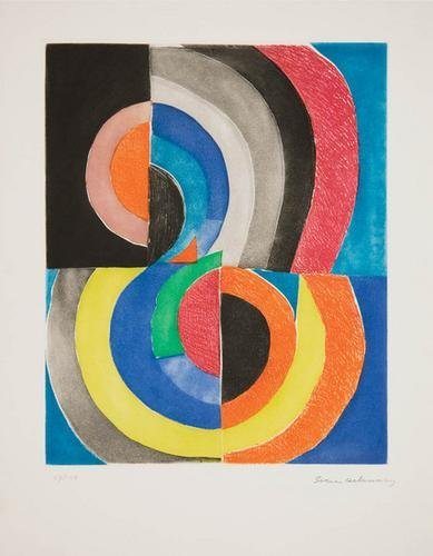 23B: Sonia Delaunay abstract composition with semicircl