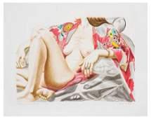 Philip Pearlstein (b.1924) model in kimono on pla