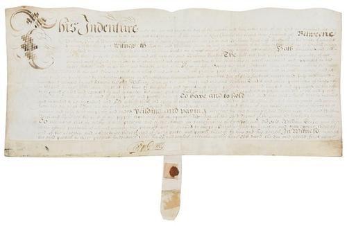 4D: PENN, William. Manuscript indenture on vellum, sig