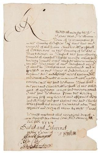 5D: PENN, William. Manuscript document signed and seal