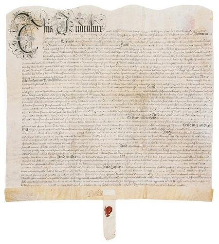 6D: PENN, William. Engraved indenture on vellum, with
