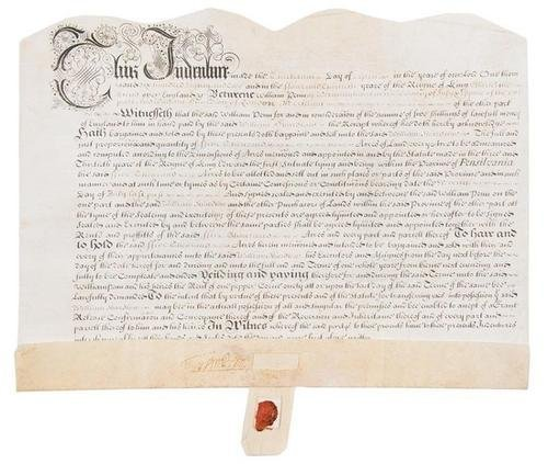 7D: PENN, William. Engraved indenture on vellum, with