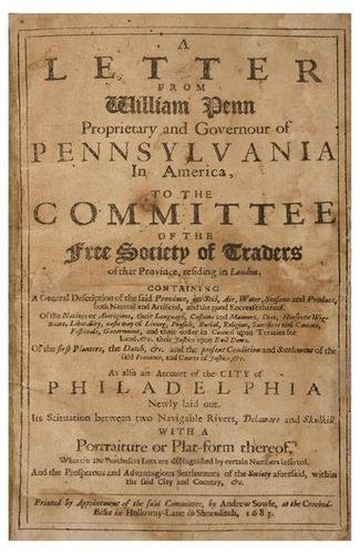 8D: PENN, William. A Letter from William Penn Propriet