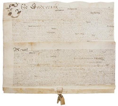 14D: PENN, William. Manuscript indenture on vellum, sig