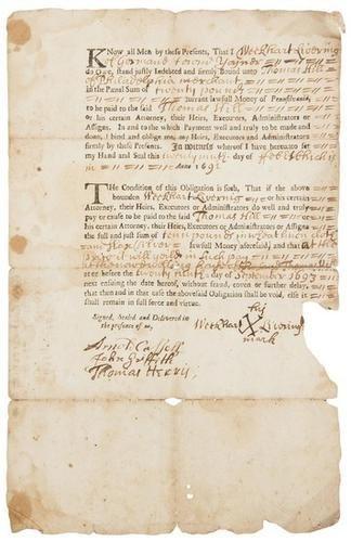 15D: BRADFORD, William (printer). Partly-printed loan c