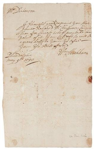 19D: MARKHAM, William. Autograph letter signed from Wil