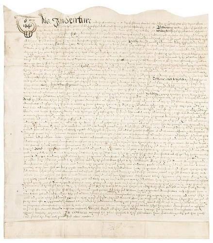 22E: HARVEY, William. Manuscript document signed, 1640.