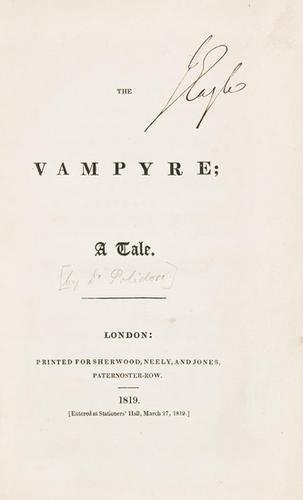 148E: POLIDORI. The Vampyre; A Tale. first edition - 2