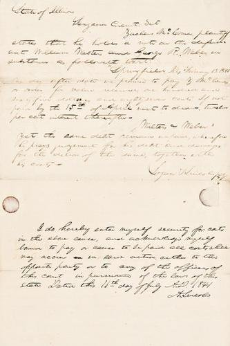 179E: LINCOLN, Abraham. Autograph document signed, 1841