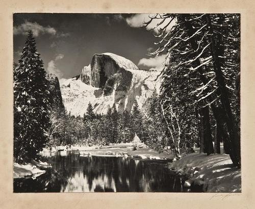 4F: Ansel Adams- Half Dome, Merced River, Winter