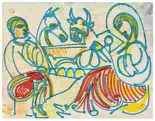 Romare Bearden Biblical Scene, watercolor, pen and