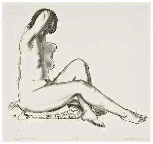 George Bellows Nude Study, Girl on a Flowered Cush