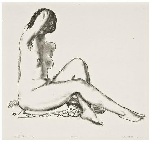 15: George Bellows Nude Study, Girl on a Flowered Cush