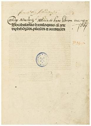 REUCHLIN, Johann (1455-1522). Vocabularius brevilo