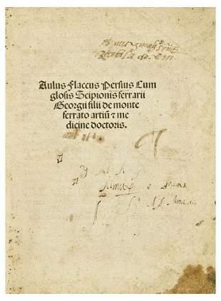 PERSIUS, Aulus Flaccus (34-62). [Satyrae]. Aulus F