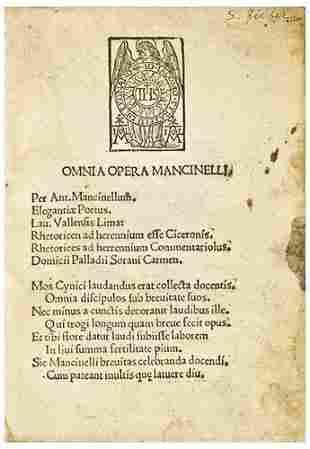 MANCINELLI, Antonii (1452 - c.1505). Omnia Opera M