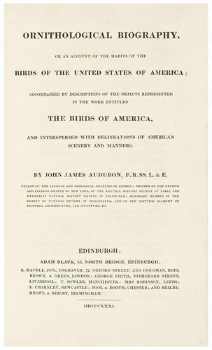 191: AUDUBON, John James (1785 - 1851).  Ornithological
