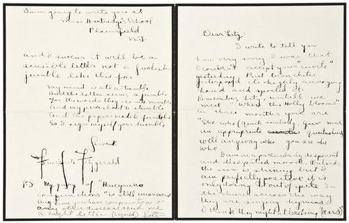 50: FITZGERALD, F. Scott. Autograph letter signed to E
