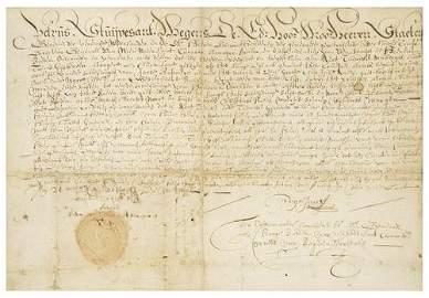 1: STUYVESANT, Petrus (c. 1612-1672). Manuscript docu