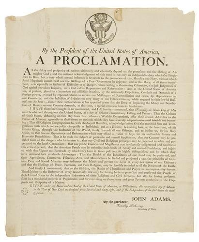 7: BROADSIDE - ADAMS, John (1735 - 1826). Broadside s