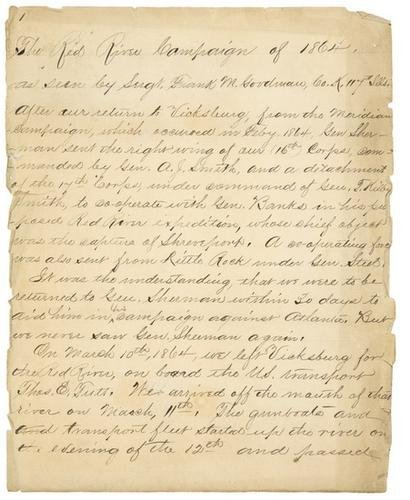 23: CIVIL WAR - The Red River Campaign. Manuscript cap