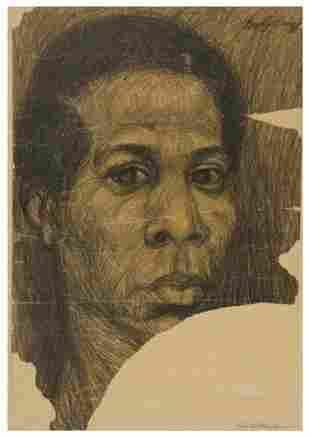 13: Tom FEELINGS (1933 - 2003). Self-portrait.