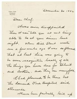 FORD, Edsel (1893 - 1943). Autograph letter signed