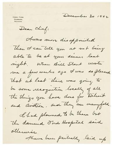 6: FORD, Edsel (1893 - 1943). Autograph letter signed