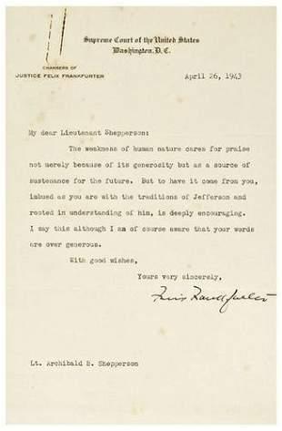 FRANKFURTER, Felix (1882 - 1965). Typed letter sig