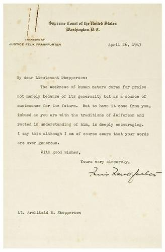 7: FRANKFURTER, Felix (1882 - 1965). Typed letter sig