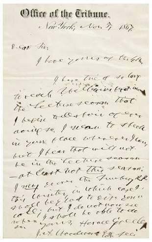 GREELEY, Horace (1811 - 1872). Autograph letter s