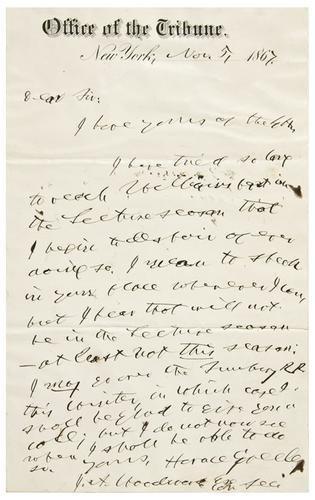 8: GREELEY, Horace (1811 - 1872).  Autograph letter s