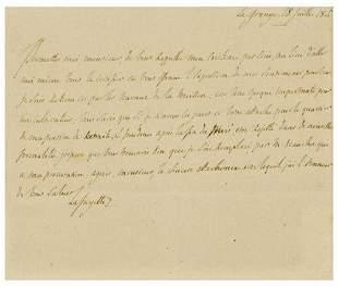 LAFAYETTE, Marquis de (1757 - 1834) Autograph lett