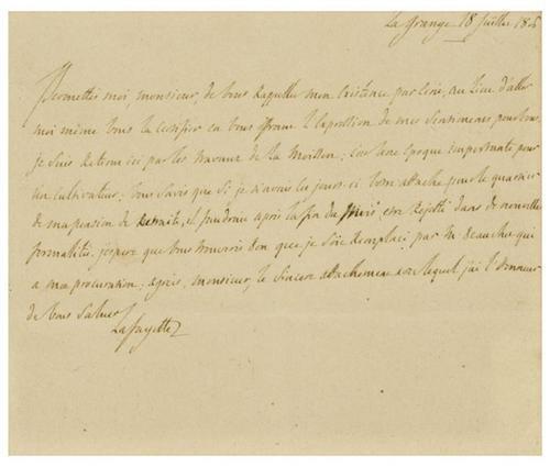 11: LAFAYETTE, Marquis de (1757 - 1834) Autograph lett