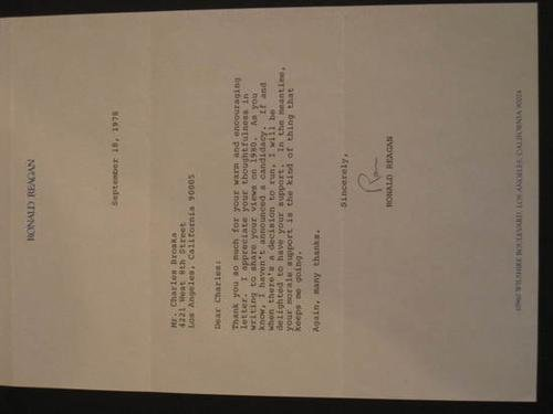 18: REAGAN, Ronald (1911 - 2004).  Typed letter signed
