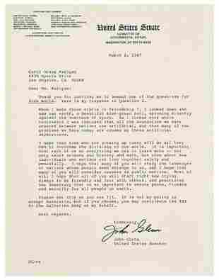 [SPACE] -- John GLENN (b. 1921). Typed letter sig