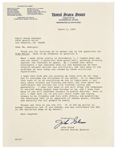 23: [SPACE] -- John GLENN (b. 1921).  Typed letter sig