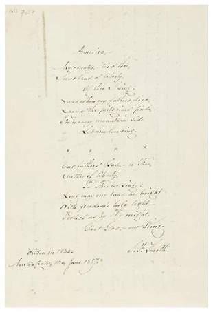 SMITH, Samuel F. (1808 - 1895). Autograph manuscri