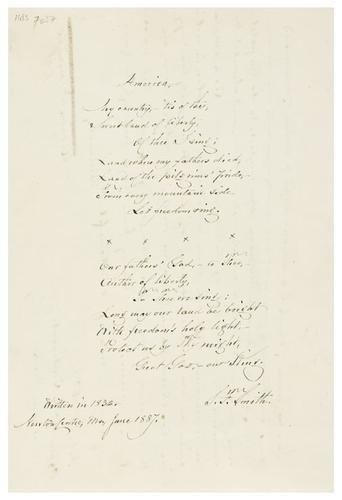 24: SMITH, Samuel F. (1808 - 1895). Autograph manuscri