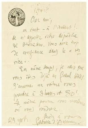 D'ANNUNZIO, Gabriele (1863 - 1938). Autograph lett