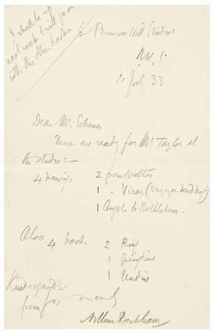 RACKHAM, Arthur (1867-1939). Autograph letter sig