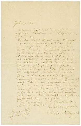 WAGNER, Richard (1813 - 1883). Autograph letter si