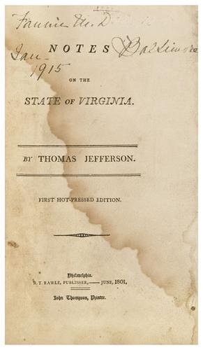 289: JEFFERSON, Thomas. Notes on the State of Virginia.