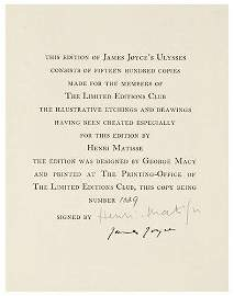 416: LIMITED EDITIONS CLUB -- James JOYCE and Henri MAT