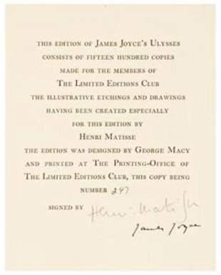 JOYCE, James and Henri MATISSE (illustrator) Ulys