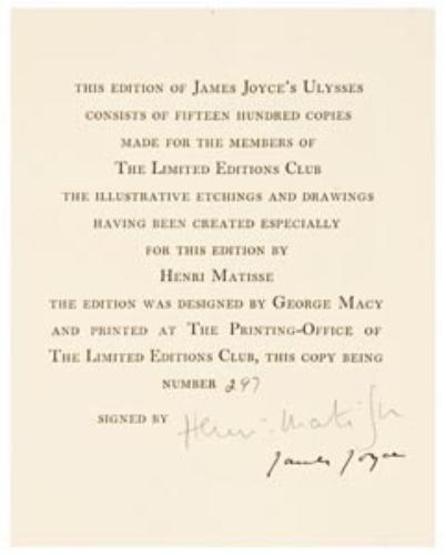 9: JOYCE, James and Henri MATISSE (illustrator)  Ulys