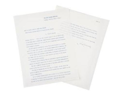 24: KENNEDY, John F. (1917 - 1963)    Typed Manuscript