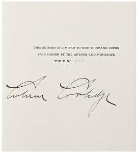 11: COOLIDGE, Calvin (1872 - 1933).  The Autobiography